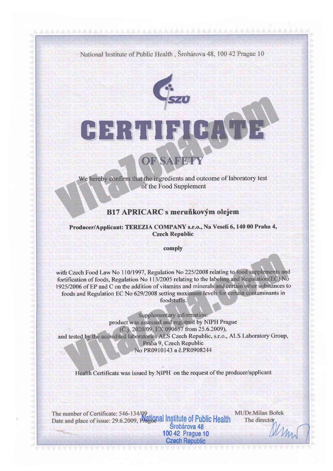 Витамин В17 Априкарк Сертификат